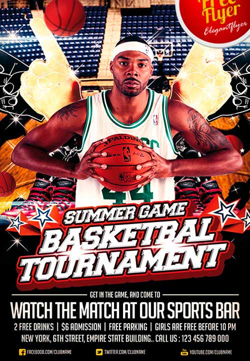 Download Free Basketball Sport PSD Flyer Template - basketball flyer example