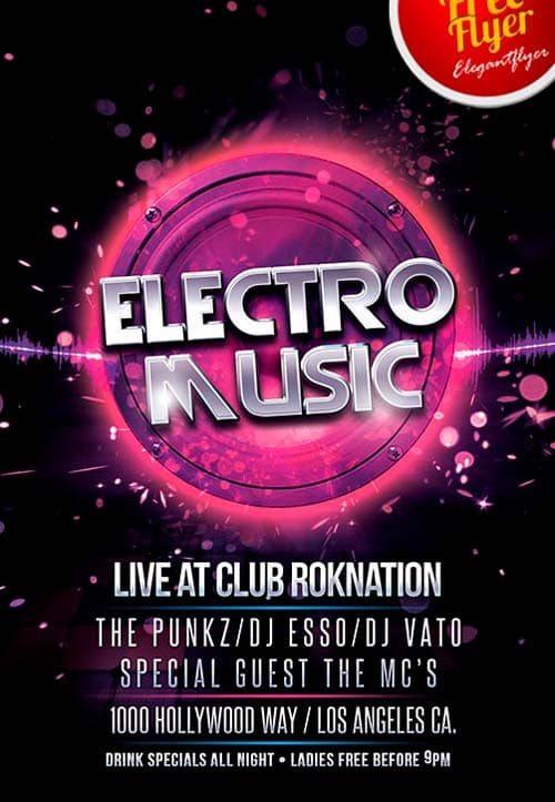 Download Free Electro Music PSD Flyer Template FreePSDFlyer