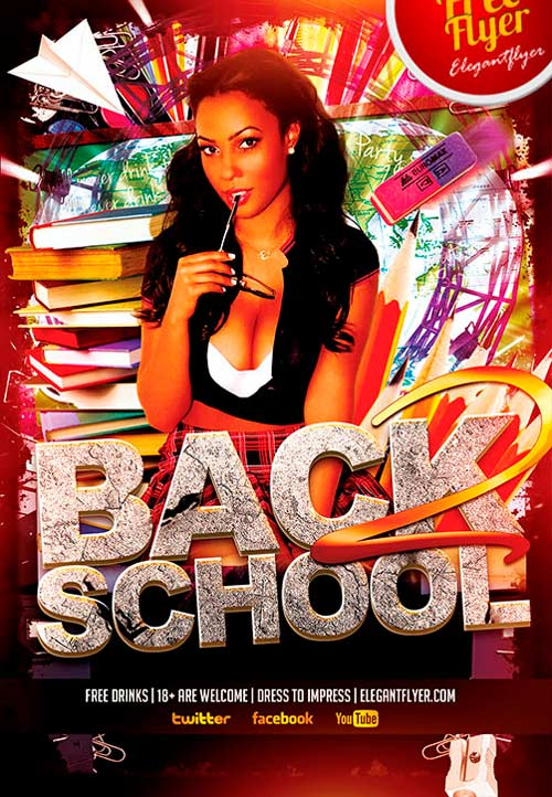 Free Back to School Party PSD Flyer Template Download