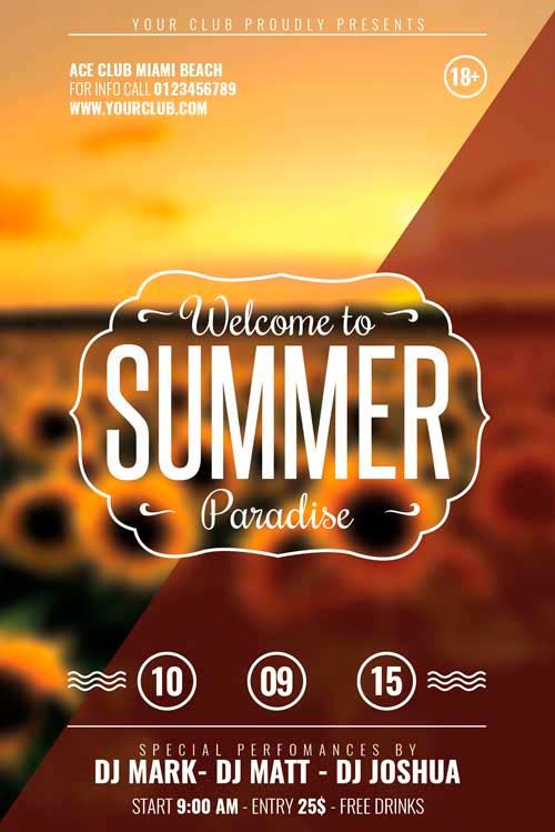 FreePSDFlyer Download Free Flat End Of Summer Minimal Flyer Template