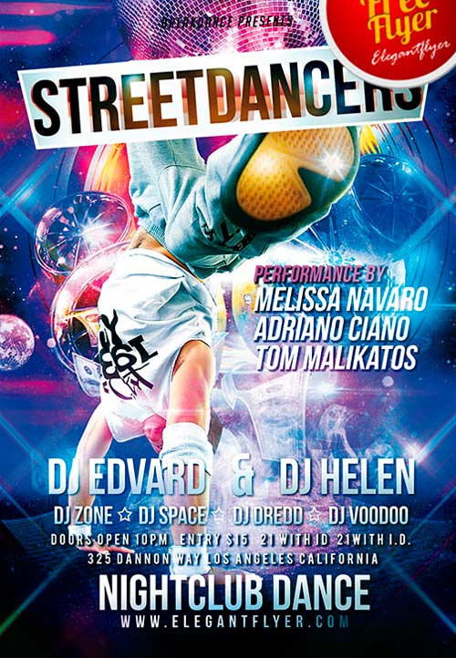 FreePSDFlyer Download Free Street Dancers PSD Flyer Template