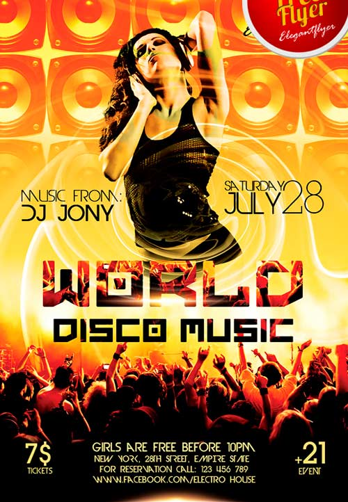 Free World Disco Music PSD Flyer Template - Freebie FreePSDFlyer