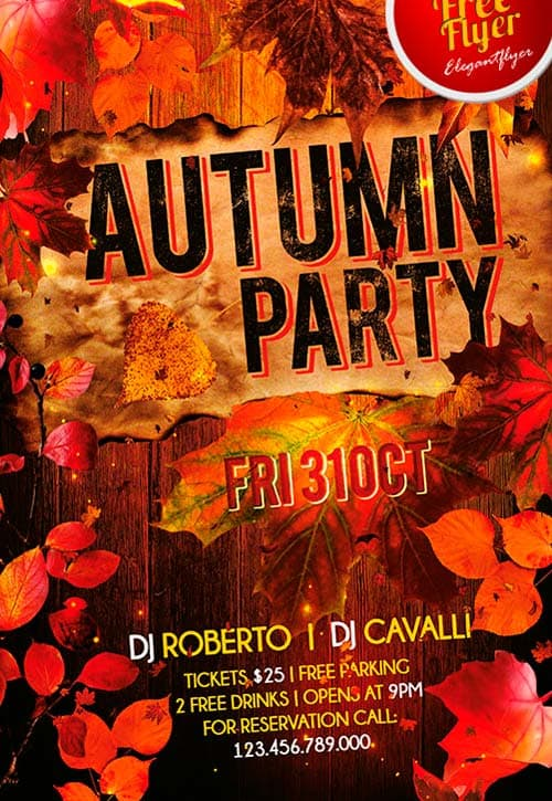 Download Free Autumn Party Flyer PSD Template FreePSDFlyer