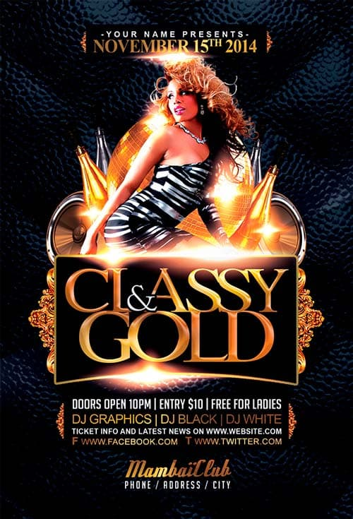 FreePSDFlyer Download Free Classy And Gold Free Flyer Template
