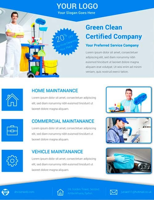 FreePSDFlyer Download Free Cleaning Service Flyer PSD Template for