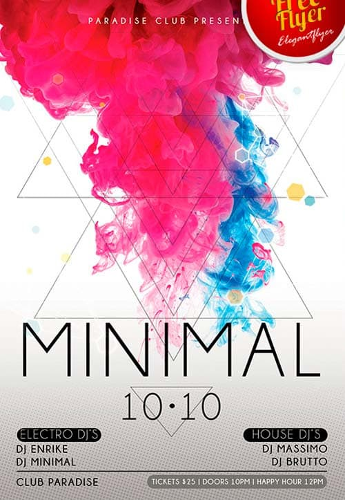 Download Free Minimal Electro Flyer PSD Template
