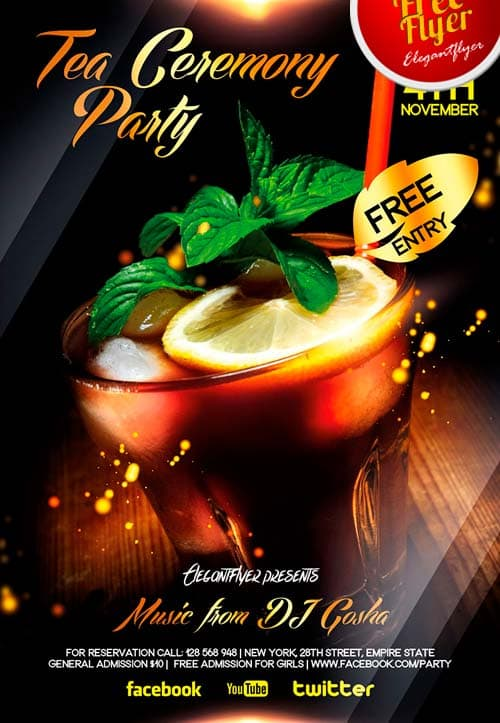 FreePSDFlyer Download Free Tea and Cocktail Party Flyer PSD Template - party flyer
