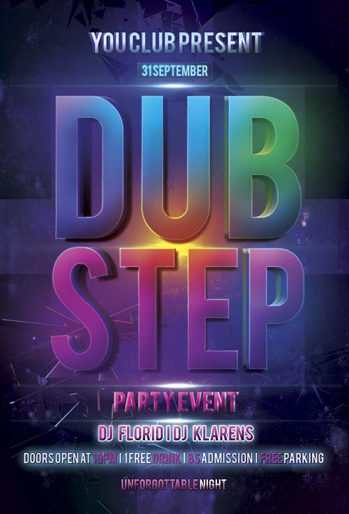 FreePSDFlyer Download Free Dub Step Electro Flyer PSD Template - electro flyer