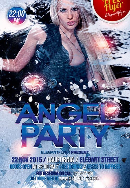 FreePSDFlyer Download Angel Party Free PSD Flyer Template - angels templates free