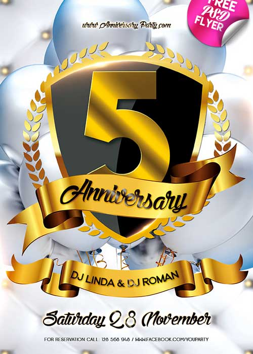 Download Anniversary Party Free PSD Flyer Template