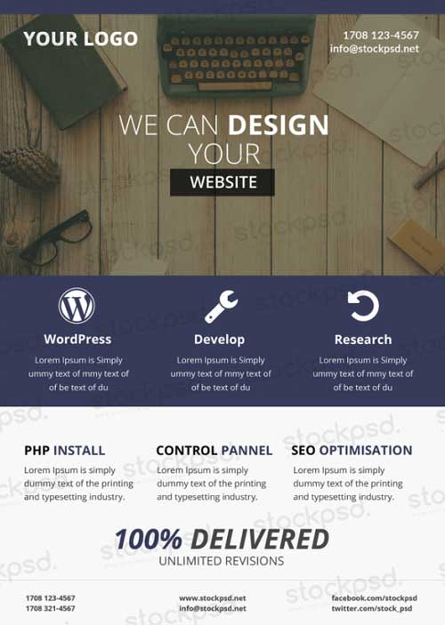 FreePSDFlyer Download Web Design Business Free PSD Flyer Template - web flyer template