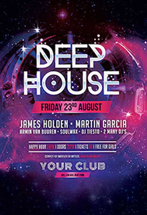 Download Deep House Free PSD Flyer Template for Photoshop - Freebie - house flyer template