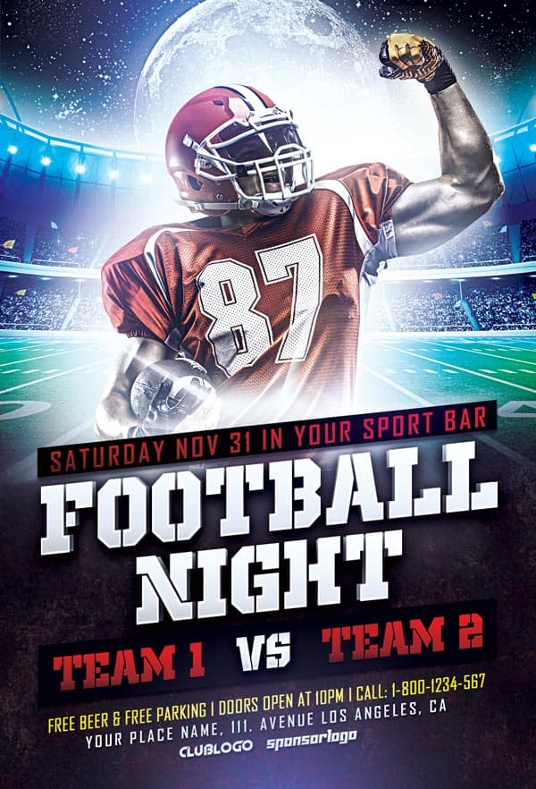 FreePSDFlyer Download Football Sports Flyer PSD Template for
