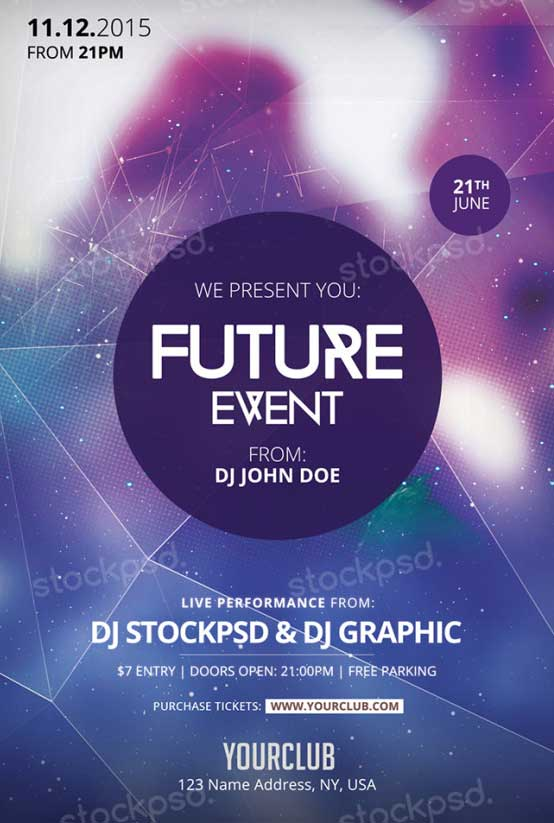 Download Future Event Free PSD Flyer Template for Photoshop