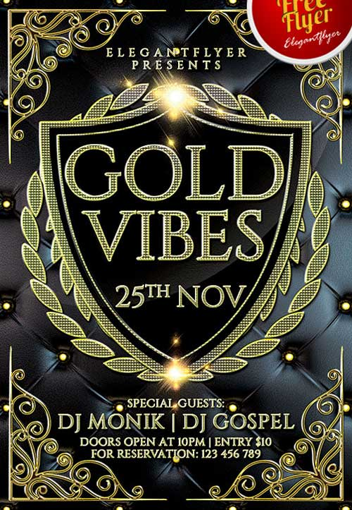 FreePSDFlyer Free Elegant Gold Vibes PSD Flyer Template - Download - free e flyers