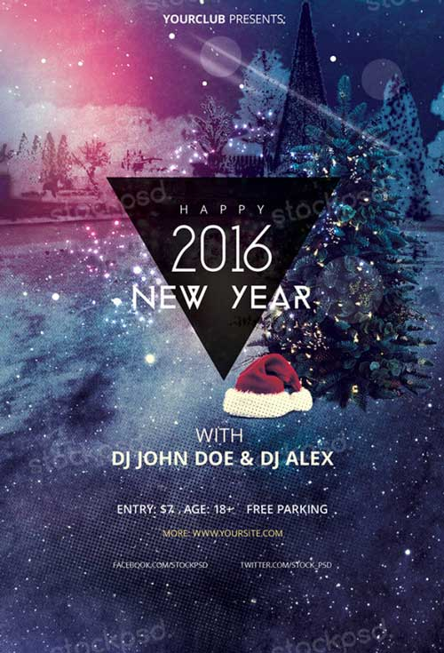 Download Happy New Year 2016 Free PSD Flyer Template - new year poster template