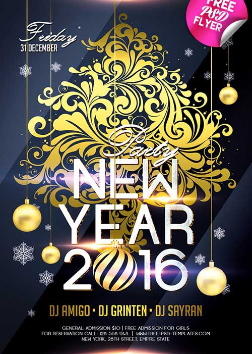 FreePSDFlyer Download New Year 2016 Free PSD Flyer Template