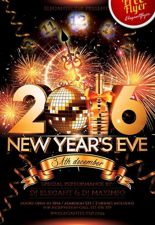 FreePSDFlyer New Year Eve Free PSD Flyer Template - Download for - new year poster template