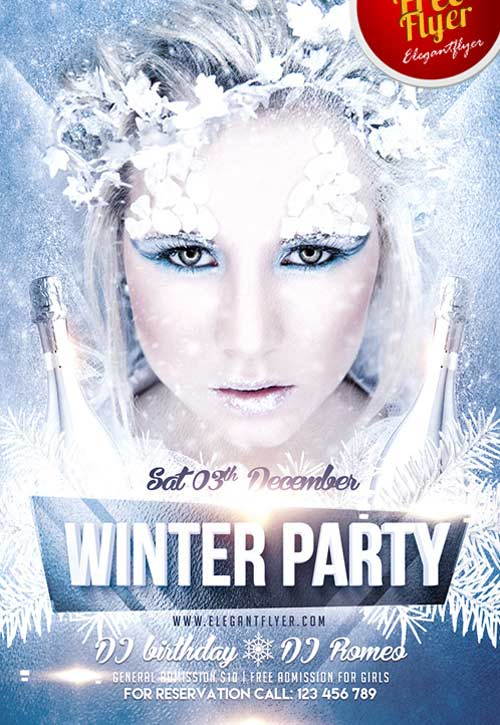 Download Winter Party Free PSD Flyer Template