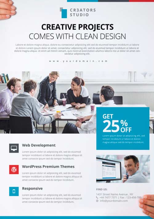 FreePSDFlyer Download Modern Business Free PSD Flyer Template for - business pamphlet templates free
