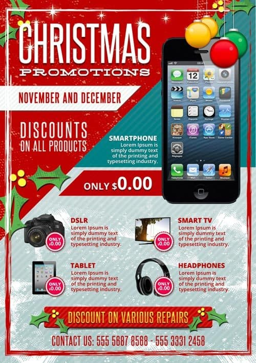 FreePSDFlyer Christmas Business Promotions Free PSD Flyer Template - promotion flyer