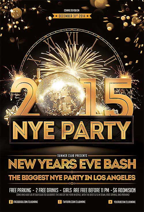 FreePSDFlyer Download New Years Eve Free PSD Flyer Template - new year poster template