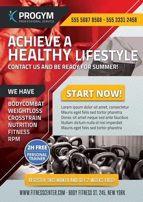 FreePSDFlyer Download Free Sports Fitness Gym Business Flyer Template