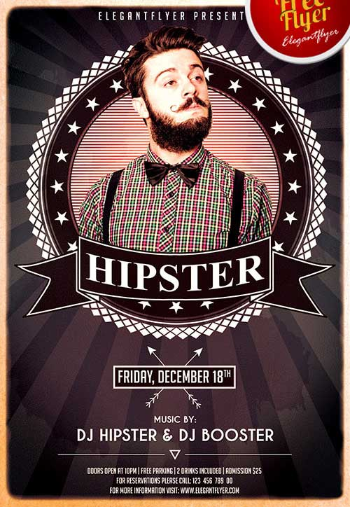 FreePSDFlyer Download Hipsters Party Free PSD Flyer Template - retro flyer template