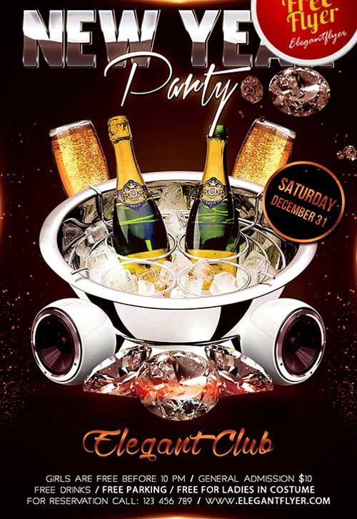 FreePSDFlyer New Year Party Flyer Free PSD Template - Download for - new years party flyer