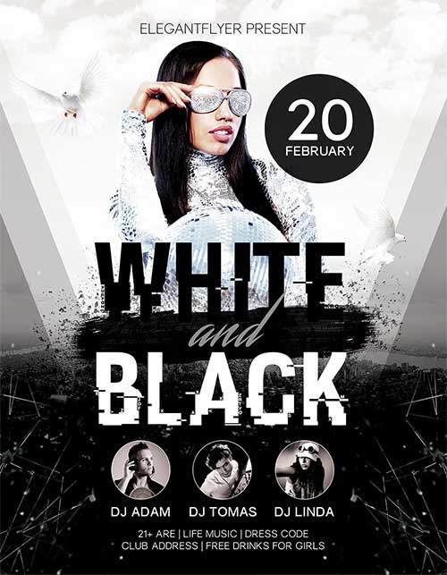 Download White And Black Party Free PSD Flyer Template for Photoshop - black and white flyer template