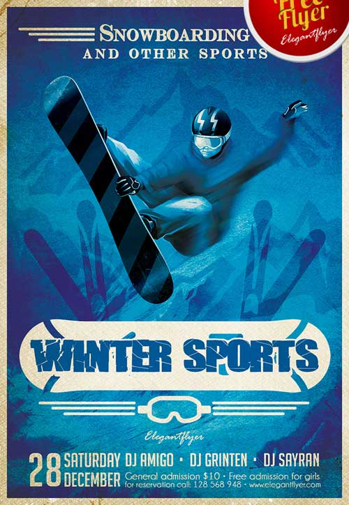 FreePSDFlyer Download Winter Sports Free PSD Flyer Template - free sports flyer templates