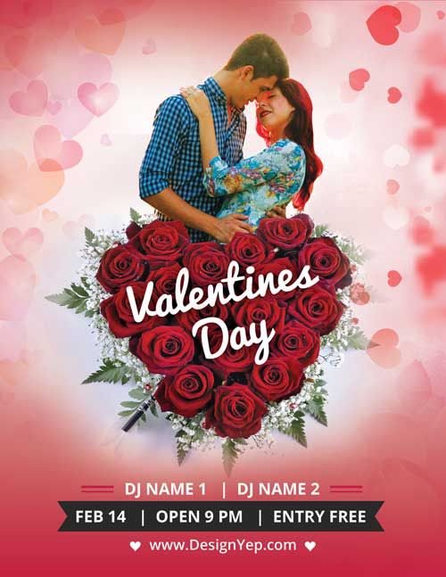 FreePSDFlyer Download Valentines Day Party Free PSD Flyer Template