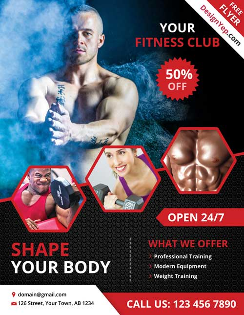 FreePSDFlyer Download Free Fitness and Gym PSD Flyer Template - Fitness Templates Free