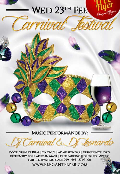 Free Mardi Gras Carnival Festival PSD Flyer Template for Photoshop