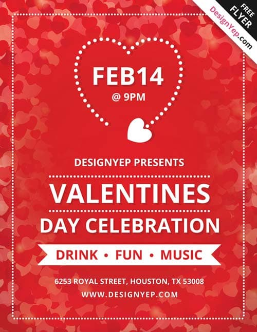 FreePSDFlyer Valentines Day Free Party Flyer PSD Template