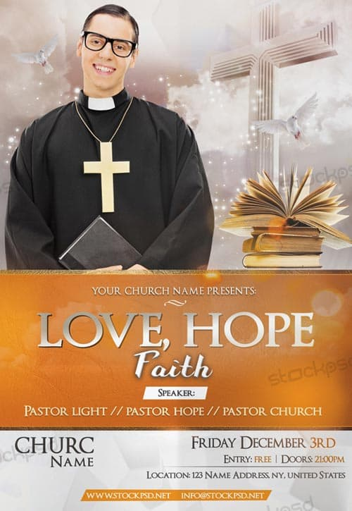 FreePSDFlyer Download Hope  Faith Church Free PSD Flyer Template