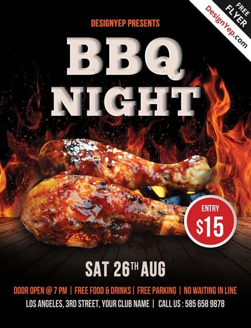 Download the best Free Barbecue Flyer PSD Templates for Photoshop - bbq flyer