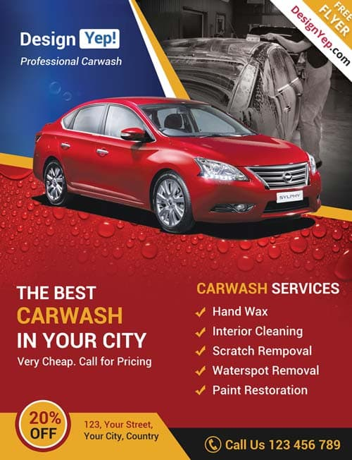 FreePSDFlyer Download Car Wash Business Free PSD Flyer Template