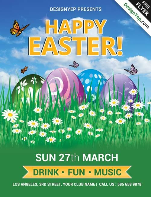 FreePSDFlyer Download Happy Easter Party Free PSD Flyer Template - easter flyer template
