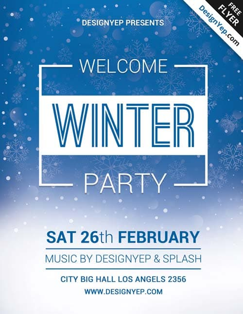 Download Winter Welcome Party Free PSD Flyer Template