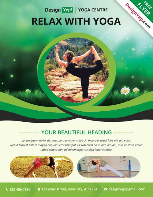 Download Free Yoga PSD Flyer Template - yoga flyer