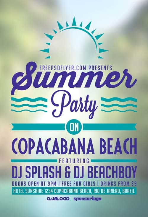 FreePSDFlyer Download Summer Beach Party Free Flyer Template