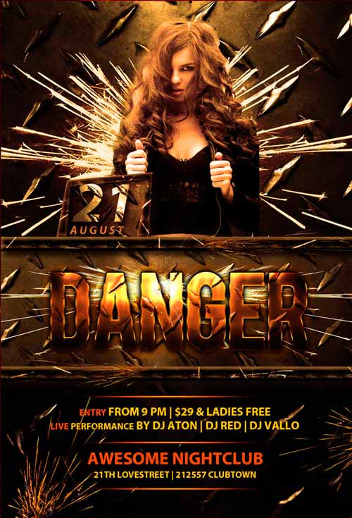 Download Danger Club Free PSD Flyer Template
