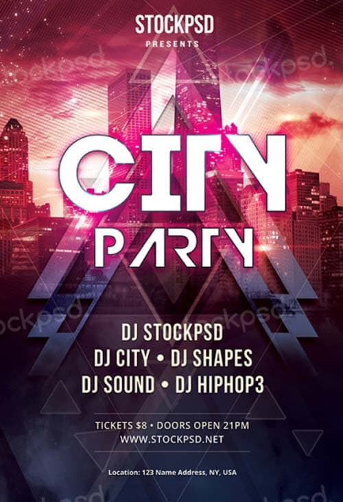Electro City Club Free PSD Flyer Template - Download for Photoshop! - electro flyer