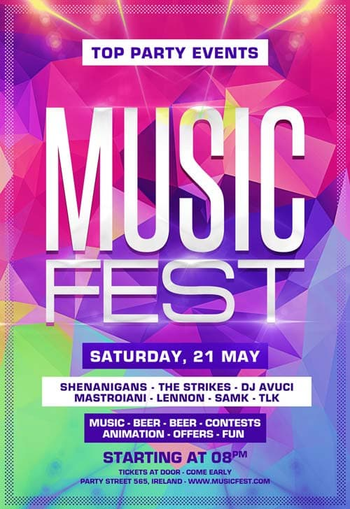 FreePSDFlyer Download the Music Festival Party Free Flyer Template - music flyer template