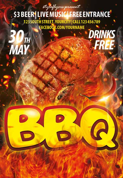 Download the BBQ Party PSD Flyer Template