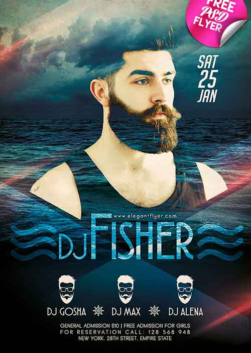Download DJ Event Free Flyer PSD Template