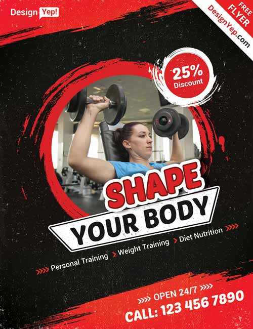 Download Fitness Gym Free Flyer PSD Template - fitness flyer
