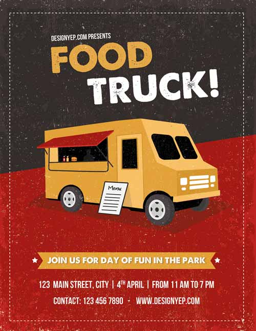 FreePSDFlyer Download Food Truck Free Flyer PSD Template