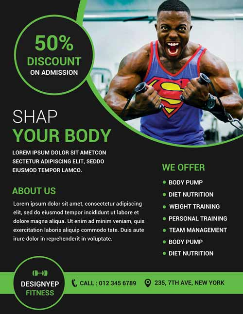 FreePSDFlyer Download Gym and Fitness Free Flyer PSD Template - Fitness Templates Free